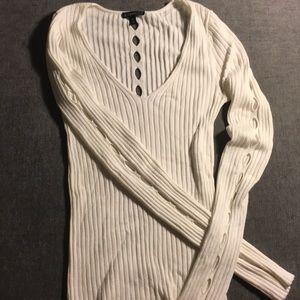 White Slashed V-neck Sweater